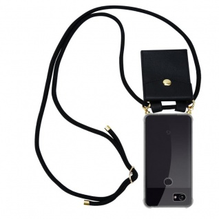 Cadorabo Handy Kette für Google Pixel 2 XL in SCHWARZ - Silikon Necklace Umhänge Hülle mit Gold Ringen, Kordel Band Schnur und abnehmbarem Etui ? Schutzhülle