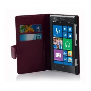 Cadorabo Hülle für Nokia Lumia 1020 in BORDEAUX LILA - Handyhülle aus strukturiertem Kunstleder mit Standfunktion und Kartenfach - Case Cover Schutzhülle Etui Tasche Book Klapp Style