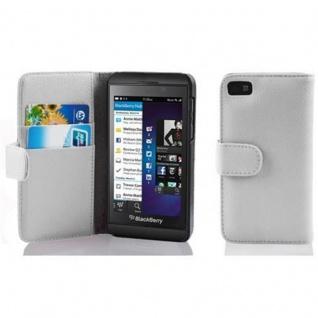Cadorabo Hülle für Blackberry Z10 - Hülle in MAGNESIUM WEIß ? Handyhülle mit Kartenfach aus struktriertem Kunstleder - Case Cover Schutzhülle Etui Tasche Book Klapp Style