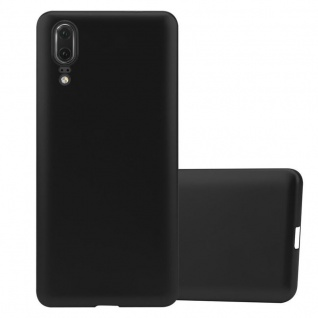 Cadorabo Hülle für Huawei P20 in METALLIC SCHWARZ - Handyhülle aus flexiblem TPU Silikon - Silikonhülle Schutzhülle Ultra Slim Soft Back Cover Case Bumper