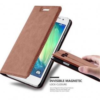 Cadorabo Hülle für Samsung Galaxy A3 2015 in CAPPUCCINO BRAUN - Handyhülle mit Magnetverschluss, Standfunktion und Kartenfach - Case Cover Schutzhülle Etui Tasche Book Klapp Style