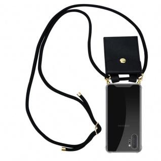 Cadorabo Handy Kette für Samsung Galaxy NOTE 10 PLUS in SCHWARZ Silikon Necklace Umhänge Hülle mit Gold Ringen, Kordel Band Schnur und abnehmbarem Etui Schutzhülle