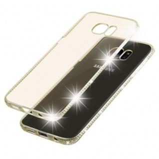 Cadorabo Hülle für Samsung Galaxy S7 EDGE - Hülle in TRANSPARENT GOLD ? Handyhülle aus TPU Silikon im Strass Design - Silikonhülle Schutzhülle Ultra Slim Soft Back Cover Case Bumper - Vorschau 5
