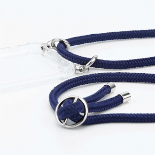 Cadorabo Handy Kette für Huawei P10 in TIEF BLAU - Silikon Necklace Umhänge Hülle mit Silber Ringen, Kordel Band Schnur und abnehmbarem Etui - Schutzhülle - Vorschau 2