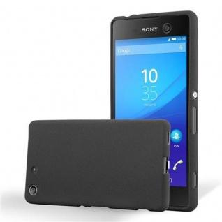 Cadorabo Hülle für Sony Xperia M5 - Hülle in FROST SCHWARZ ? Handyhülle aus TPU Silikon im matten Frosted Design - Ultra Slim Soft Backcover Case Bumper