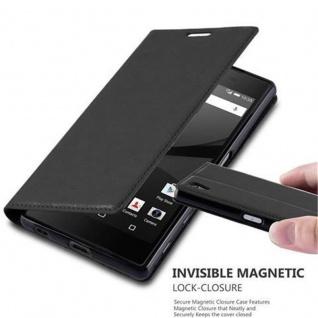 Cadorabo Hülle für Sony Xperia Z5 in NACHT SCHWARZ - Handyhülle mit Magnetverschluss, Standfunktion und Kartenfach - Case Cover Schutzhülle Etui Tasche Book Klapp Style