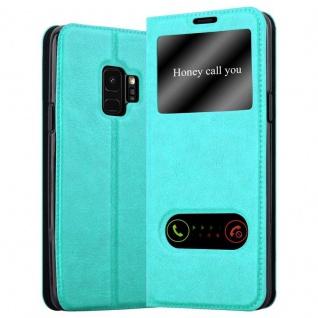 Cadorabo Hülle für Samsung Galaxy S9 in MINT TÜRKIS - Handyhülle mit Magnetverschluss, Standfunktion und 2 Sichtfenstern - Case Cover Schutzhülle Etui Tasche Book Klapp Style