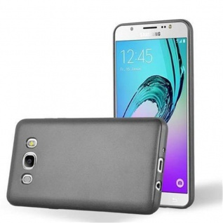 Cadorabo Hülle für Samsung Galaxy J7 2016 in METALLIC GRAU - Handyhülle aus flexiblem TPU Silikon - Silikonhülle Schutzhülle Ultra Slim Soft Back Cover Case Bumper