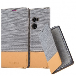 Cadorabo Hülle für Xiaomi Mi MIX 2 in HELL GRAU BRAUN - Handyhülle mit Magnetverschluss, Standfunktion und Kartenfach - Case Cover Schutzhülle Etui Tasche Book Klapp Style