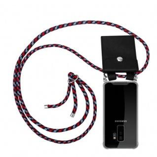 Cadorabo Handy Kette für Samsung Galaxy S9 PLUS in ROT BLAU WEISS - Silikon Necklace Umhänge Hülle mit Silber Ringen, Kordel Band Schnur und abnehmbarem Etui - Schutzhülle