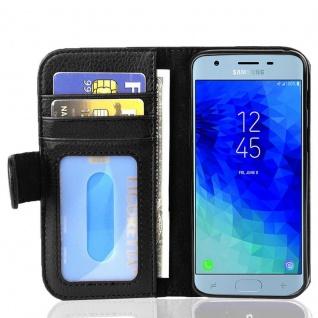Cadorabo Hülle für Samsung Galaxy J3 2017 in OXID SCHWARZ - Handyhülle mit Magnetverschluss und 3 Kartenfächern - Case Cover Schutzhülle Etui Tasche Book Klapp Style