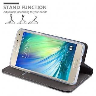 Cadorabo Hülle für Samsung Galaxy A5 2015 in GRAU SCHWARZ - Handyhülle mit Magnetverschluss, Standfunktion und Kartenfach - Case Cover Schutzhülle Etui Tasche Book Klapp Style - Vorschau 5