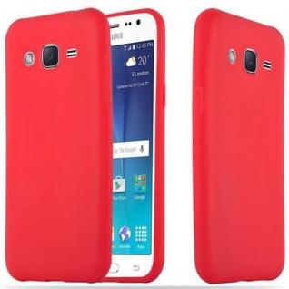 Cadorabo Hülle für Samsung Galaxy J2 2015 in CANDY ROT - Handyhülle aus flexiblem TPU Silikon - Silikonhülle Schutzhülle Ultra Slim Soft Back Cover Case Bumper