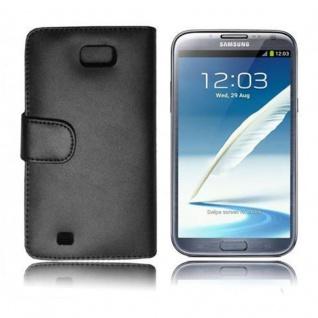 Cadorabo Hülle für Samsung Galaxy NOTE 2 in KAVIAR SCHWARZ - Handyhülle aus glattem Kunstleder mit Standfunktion und Kartenfach - Case Cover Schutzhülle Etui Tasche Book Klapp Style - Vorschau 3