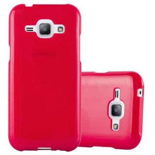 Cadorabo Hülle für Samsung Galaxy J1 2015 in JELLY ROT ? Handyhülle aus flexiblem TPU Silikon ? Silikonhülle Schutzhülle Ultra Slim Soft Back Cover Case Bumper