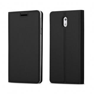 Cadorabo Hülle für Nokia 3 2017 in CLASSY SCHWARZ - Handyhülle mit Magnetverschluss, Standfunktion und Kartenfach - Case Cover Schutzhülle Etui Tasche Book Klapp Style