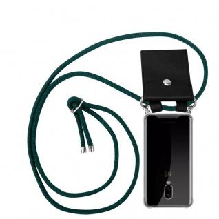 Cadorabo Handy Kette für OnePlus 6T in ARMEE GRÜN Silikon Necklace Umhänge Hülle mit Silber Ringen, Kordel Band Schnur und abnehmbarem Etui Schutzhülle