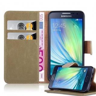 Cadorabo Hülle für Samsung Galaxy A3 2015 in CAPPUCCINO BRAUN ? Handyhülle mit Magnetverschluss, Standfunktion und Kartenfach ? Case Cover Schutzhülle Etui Tasche Book Klapp Style