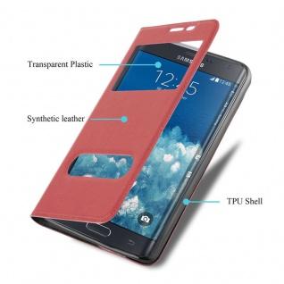 Cadorabo Hülle für Samsung Galaxy NOTE EDGE in SAFRAN ROT - Handyhülle mit Magnetverschluss, Standfunktion und 2 Sichtfenstern - Case Cover Schutzhülle Etui Tasche Book Klapp Style - Vorschau 3