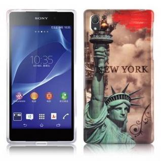 Cadorabo - Hard Cover für Sony Xperia Z2 - Case Cover Schutzhülle Bumper im Design: NEW YORK - FREIHEITSSTATUE