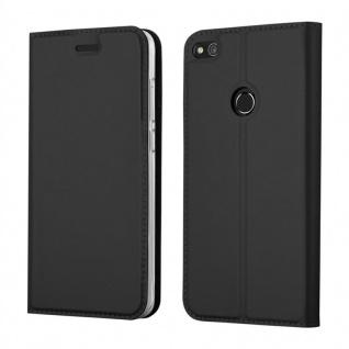 Cadorabo Hülle für Huawei P8 LITE 2017 in CLASSY SCHWARZ - Handyhülle mit Magnetverschluss, Standfunktion und Kartenfach - Case Cover Schutzhülle Etui Tasche Book Klapp Style