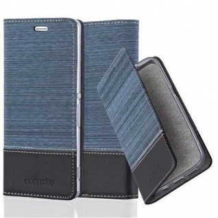 Cadorabo Hülle für Sony Xperia Z5 in DUNKEL BLAU SCHWARZ - Handyhülle mit Magnetverschluss, Standfunktion und Kartenfach - Case Cover Schutzhülle Etui Tasche Book Klapp Style