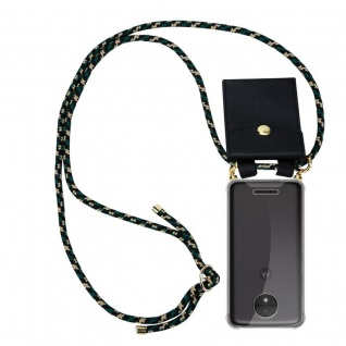 Cadorabo Handy Kette für Motorola MOTO C in CAMOUFLAGE - Silikon Necklace Umhänge Hülle mit Gold Ringen, Kordel Band Schnur und abnehmbarem Etui ? Schutzhülle