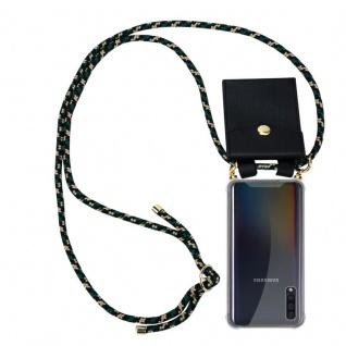 Cadorabo Handy Kette für Samsung Galaxy A50 in CAMOUFLAGE Silikon Necklace Umhänge Hülle mit Gold Ringen, Kordel Band Schnur und abnehmbarem Etui Schutzhülle