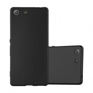 Cadorabo Hülle für Sony Xperia M5 - Hülle in METALLIC SCHWARZ ? Handyhülle aus TPU Silikon im Matt Metallic Design - Ultra Slim Soft Backcover Case Bumper