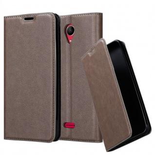 Cadorabo Hülle für WIKO FREDDY in KAFFEE BRAUN - Handyhülle mit Magnetverschluss, Standfunktion und Kartenfach - Case Cover Schutzhülle Etui Tasche Book Klapp Style