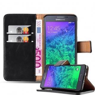 Cadorabo Hülle für Samsung Galaxy ALPHA in GRAPHIT SCHWARZ Handyhülle mit Magnetverschluss, Standfunktion und Kartenfach Case Cover Schutzhülle Etui Tasche Book Klapp Style
