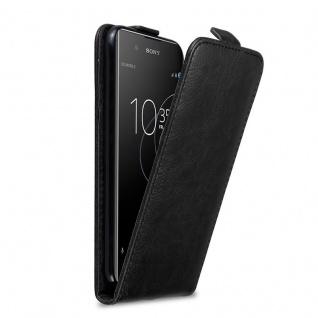 Cadorabo Hülle für Sony Xperia XA1 PLUS in NACHT SCHWARZ Handyhülle im Flip Design mit Magnetverschluss Case Cover Schutzhülle Etui Tasche Book Klapp Style