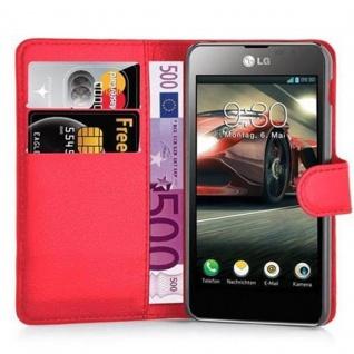 Cadorabo Hülle für LG F5 / LUCID 2 in KARMIN ROT - Handyhülle mit Magnetverschluss, Standfunktion und Kartenfach - Case Cover Schutzhülle Etui Tasche Book Klapp Style