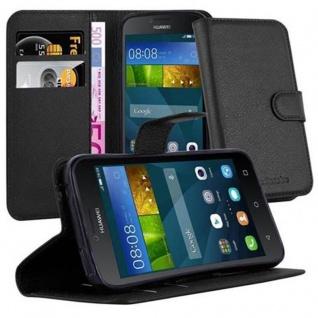 Cadorabo Hülle für Huawei Y5 2015 / Y5C / Y541 / Y540 / Y520 in PHANTOM SCHWARZ - Handyhülle mit Magnetverschluss, Standfunktion und Kartenfach - Case Cover Schutzhülle Etui Tasche Book Klapp Style