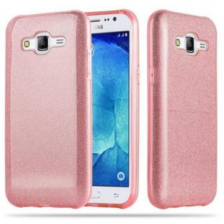 Cadorabo Hülle für Samsung Galaxy J5 2015 - Hülle in STERNENSTAUB PINK ? TPU Silikon und Hardcase Handyhülle im Glitzer Design - Hard Case TPU Silikon Schutzhülle