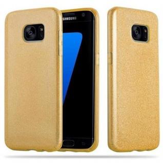 Cadorabo Hülle für Samsung Galaxy S7 EDGE - Hülle in STERNENSTAUB GOLD ? TPU Silikon und Hardcase Handyhülle im Glitzer Design - Hard Case TPU Silikon Schutzhülle