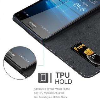 Cadorabo Hülle für Nokia Lumia 950 XL in SCHWARZ BRAUN ? Handyhülle mit Magnetverschluss, Standfunktion und Kartenfach ? Case Cover Schutzhülle Etui Tasche Book Klapp Style