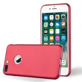 Cadorabo Hülle für Apple iPhone 8 PLUS / iPhone 7 PLUS / iPhone 7S PLUS in METALLIC ROT Handyhülle aus flexiblem TPU Silikon Silikonhülle Schutzhülle Ultra Slim Soft Back Cover Case Bumper