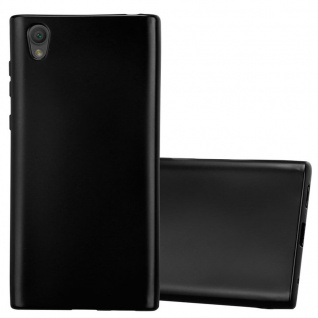 Cadorabo Hülle für Sony Xperia L1 in METALLIC SCHWARZ - Handyhülle aus flexiblem TPU Silikon - Silikonhülle Schutzhülle Ultra Slim Soft Back Cover Case Bumper