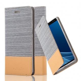 Cadorabo Hülle für Nokia 9 2018 in HELL GRAU BRAUN - Handyhülle mit Magnetverschluss, Standfunktion und Kartenfach - Case Cover Schutzhülle Etui Tasche Book Klapp Style