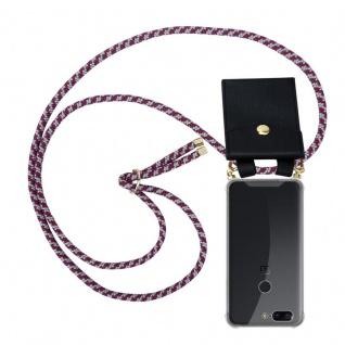 Cadorabo Handy Kette für OnePlus 5T in ROT WEISS Silikon Necklace Umhänge Hülle mit Gold Ringen, Kordel Band Schnur und abnehmbarem Etui Schutzhülle
