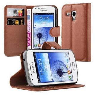 Cadorabo Hülle für Samsung Galaxy TREND DUOS in SCHOKO BRAUN - Handyhülle mit Magnetverschluss, Standfunktion und Kartenfach - Case Cover Schutzhülle Etui Tasche Book Klapp Style