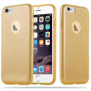 Cadorabo Hülle für Apple iPhone 6 / iPhone 6S - Hülle in STERNENSTAUB GOLD ? TPU Silikon und Hardcase Handyhülle im Glitzer Design - Hard Case TPU Silikon Schutzhülle