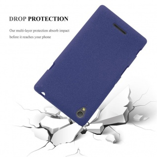 Cadorabo Hülle für Sony Xperia T3 in FROST DUNKEL BLAU - Handyhülle aus flexiblem TPU Silikon - Silikonhülle Schutzhülle Ultra Slim Soft Back Cover Case Bumper - Vorschau 5