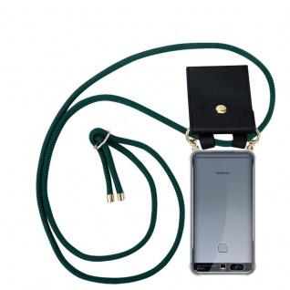 Cadorabo Handy Kette für Huawei P9 PLUS in ARMEE GRÜN Silikon Necklace Umhänge Hülle mit Gold Ringen, Kordel Band Schnur und abnehmbarem Etui Schutzhülle