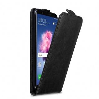 Cadorabo Hülle für Huawei P SMART / Enjoy 7S in NACHT SCHWARZ Handyhülle im Flip Design mit Magnetverschluss Case Cover Schutzhülle Etui Tasche Book Klapp Style