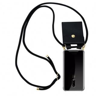 Cadorabo Handy Kette für OnePlus 6T in SCHWARZ ? Silikon Necklace Umhänge Hülle mit Gold Ringen, Kordel Band Schnur und abnehmbarem Etui ? Schutzhülle