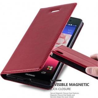 Cadorabo Hülle für Huawei P7 in APFEL ROT Handyhülle mit Magnetverschluss, Standfunktion und Kartenfach Case Cover Schutzhülle Etui Tasche Book Klapp Style