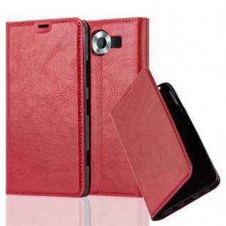 Cadorabo Hülle für Nokia Lumia 950 in APFEL ROT - Handyhülle mit Magnetverschluss, Standfunktion und Kartenfach - Case Cover Schutzhülle Etui Tasche Book Klapp Style