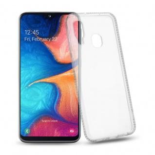 Cadorabo Hülle für Samsung Galaxy A20e - Hülle in TRANSPARENT WEIß ? Handyhülle aus TPU Silikon im Strass Design - Silikonhülle Schutzhülle Ultra Slim Soft Back Cover Case Bumper